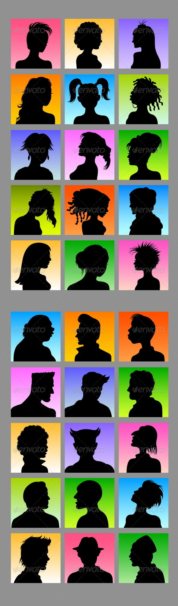 Avatars - 30 Female & Male Silhouettes - People Characters