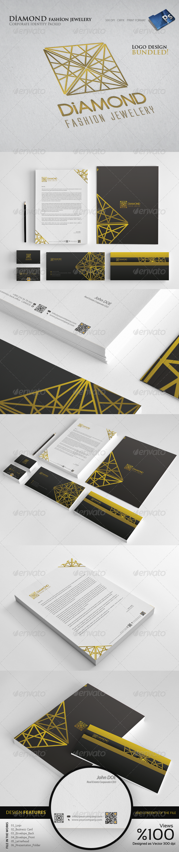Diamond Jewelery  - Corporate identity - Stationery Print Templates