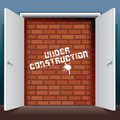 Doors Open to Brick Wall with Under Construction - PhotoDune Item for Sale