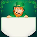 St. Patrick's Day Card. Leprechaun with Blank Sign - PhotoDune Item for Sale
