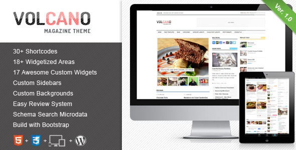 ThemeForest Volcano Responsive WordPress Magazine Blog 4094529