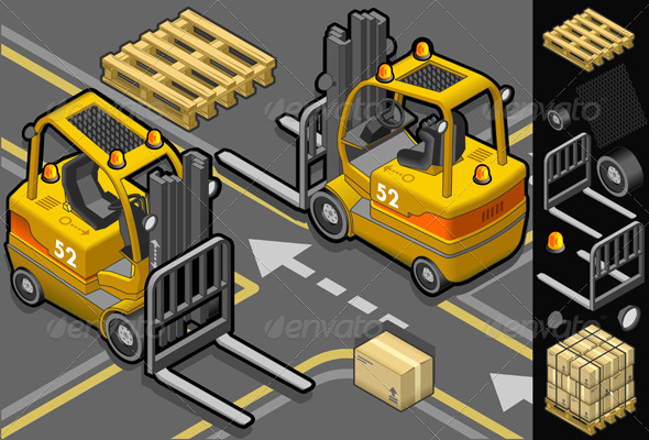 GraphicRiver Isometric Forklift in Two Positions 4094793