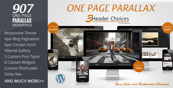 ThemeForest 907 Responsive WP One Page Parallax 4087140