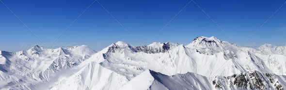 Panorama of snowy mountains - Stock Photo - Images