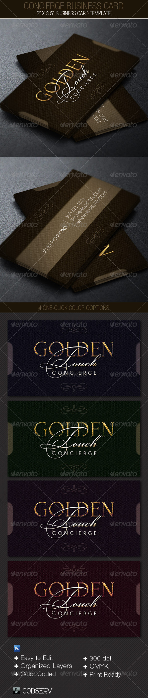 GraphicRiver Concierge Business Card Template 4100075