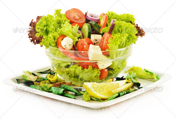PhotoDune Vegetable salad bowl isolated on white 4101971