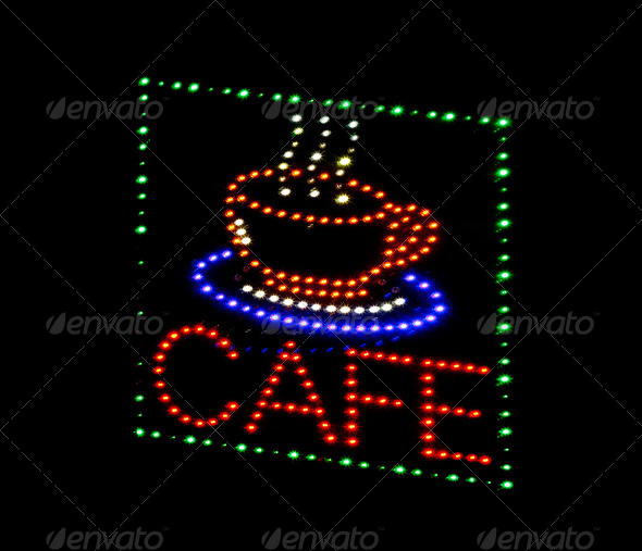 PhotoDune cafe light emitting diode sign 4101978