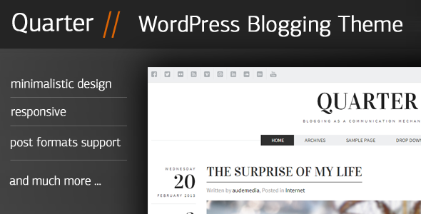 ThemeForest Quarter Responsive WordPress Blogging Theme 4103632