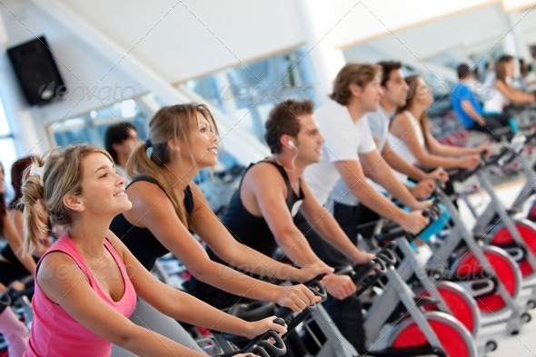 PhotoDune Gym people on spinning machines 444114