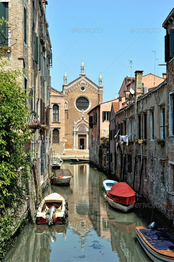 Venetian canal and houses. - Stock Photo - Images