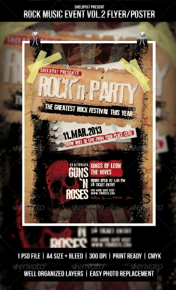 Rock Music Event Flyer / Poster Vol.3  - Events Flyers