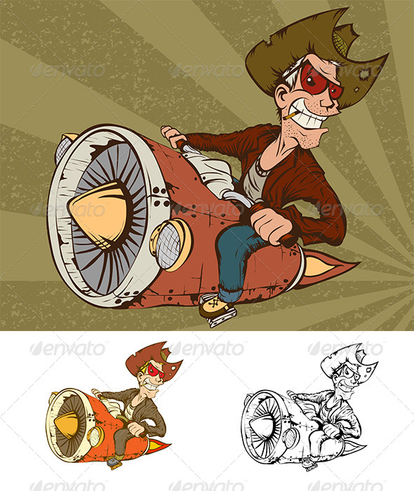 GraphicRiver Cowboy on Turbo Bike 4109914