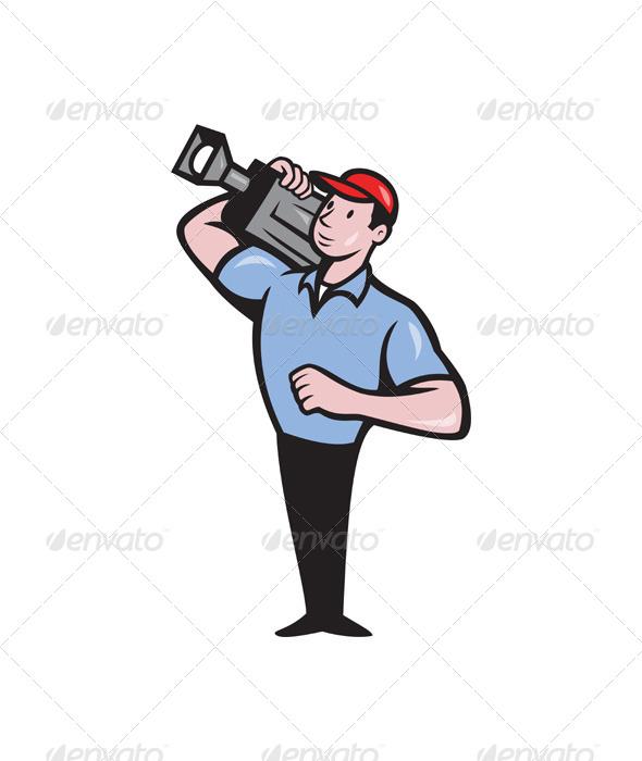 GraphicRiver Cameraman Film Crew Carry Camera 4110065
