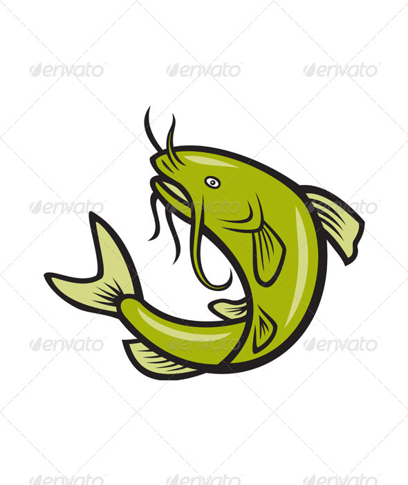 GraphicRiver Catfish Fish Jumping Cartoon 4110085