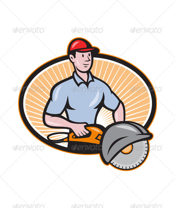GraphicRiver Construction Worker Concrete Saw Consaw Cartoon 4110120