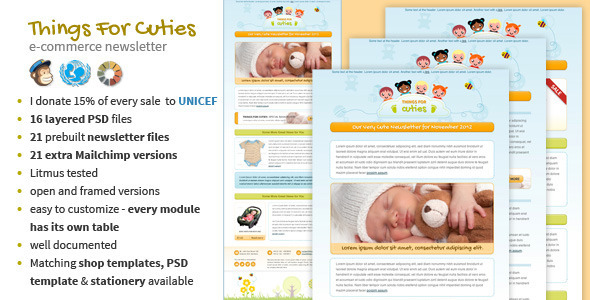 Things for Cuties - Baby Kids Newsletter Template - Newsletters Email Templates