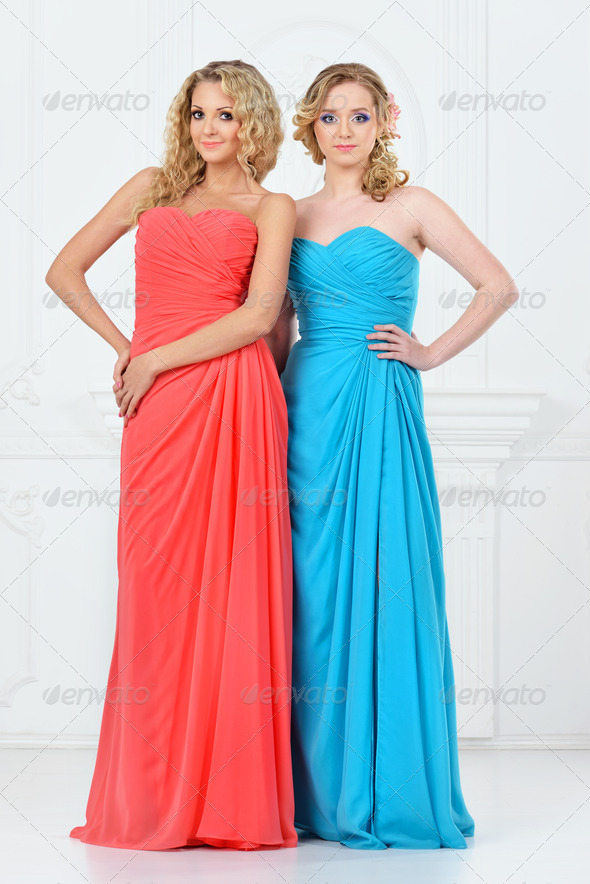 Two beautiful women in evening dresses - Stock Photo - Images