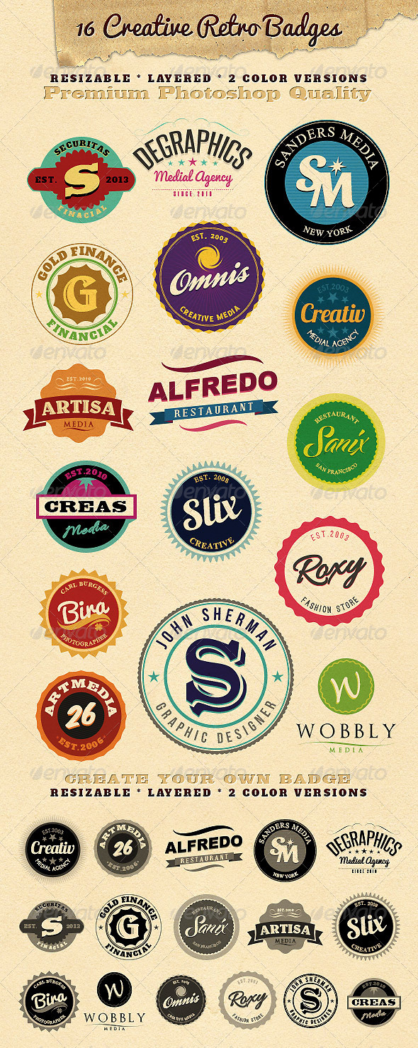 GraphicRiver 16 Resizable Retro Badges 4008409