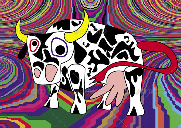 PhotoDune Crazy Cow Illustration 4271677