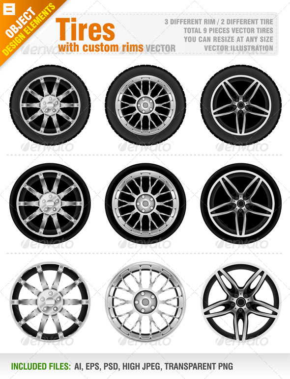 GraphicRiver Tires with Custom Rims 4113755