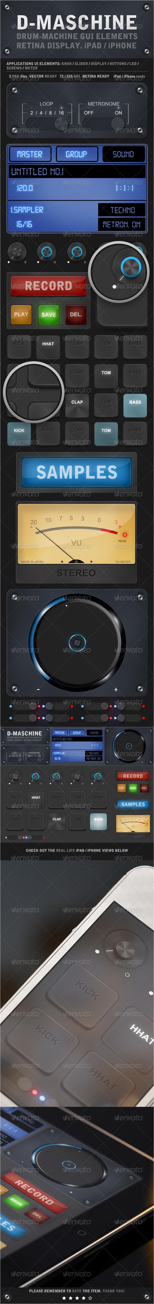 GraphicRiver D-Maschine iPad iPhone UI Elements V1 4113978