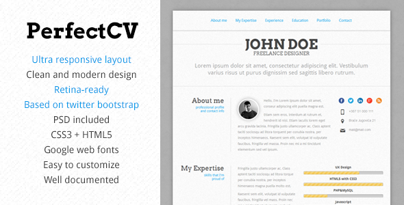 ThemeForest PerfectCV Reponsive Bootstrap CV Resume 4102616