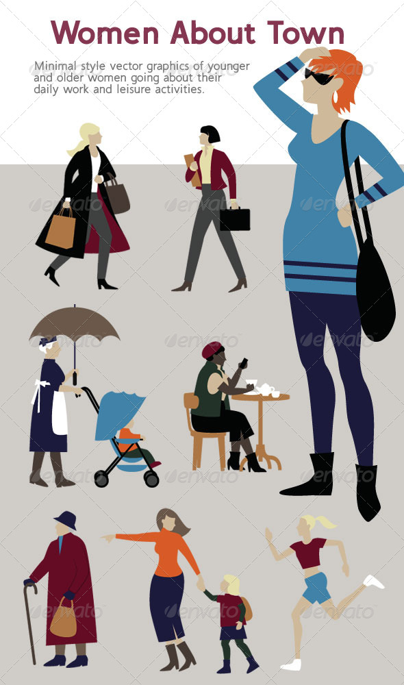 GraphicRiver Female Characters Minimal Style Illustrations 4115392