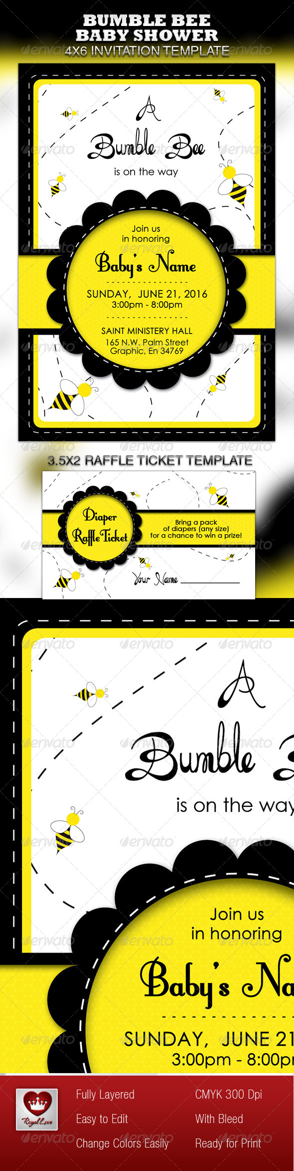GraphicRiver Bumble Bee Baby Shower Invitation & Raffle Ticket 4115557