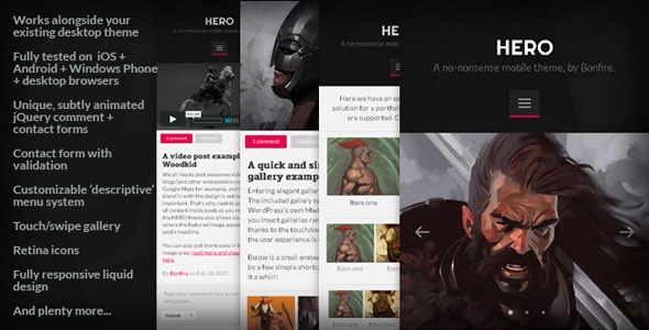 ThemeForest HERO A no-nonsense mobile theme by Bonfire 4117386
