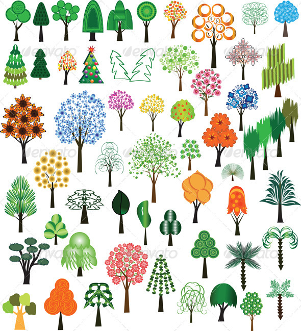 GraphicRiver Set of Vector Trees 4117787