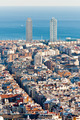 Barcelona aerial view showing prominent twin towers - PhotoDune Item for Sale