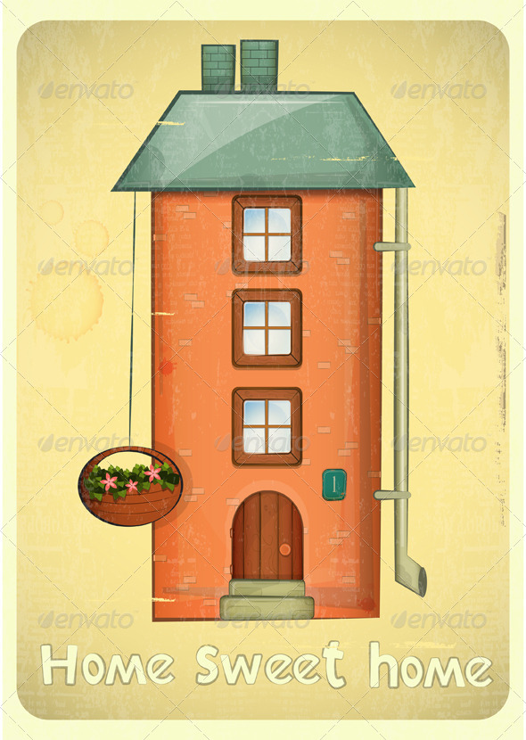 GraphicRiver Cartoon Houses Postcard 4117827