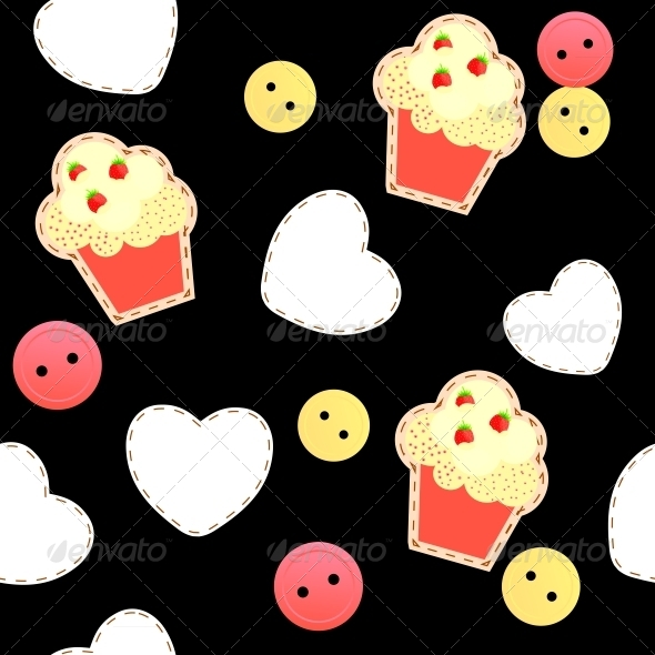 GraphicRiver Seamless Pattern with Cupcakes 4119712