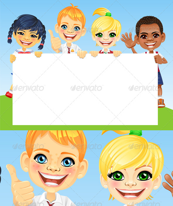 Vector Happy Smile Kids and Banner - People Characters