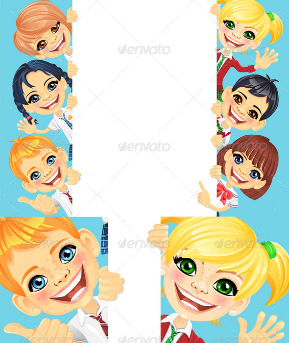 Vector Happy Smile Kids and Banner 2 - People Characters