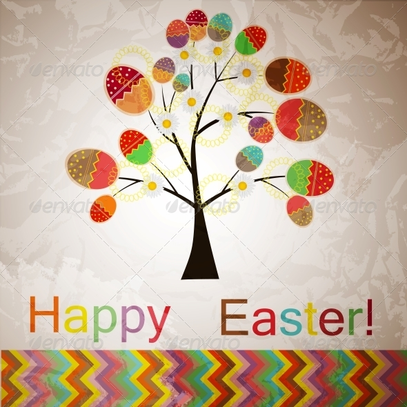 GraphicRiver Vector Easter Tree with Eggs 4119938