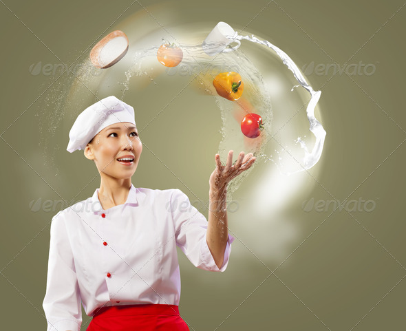 juggler female cook - Stock Photo - Images