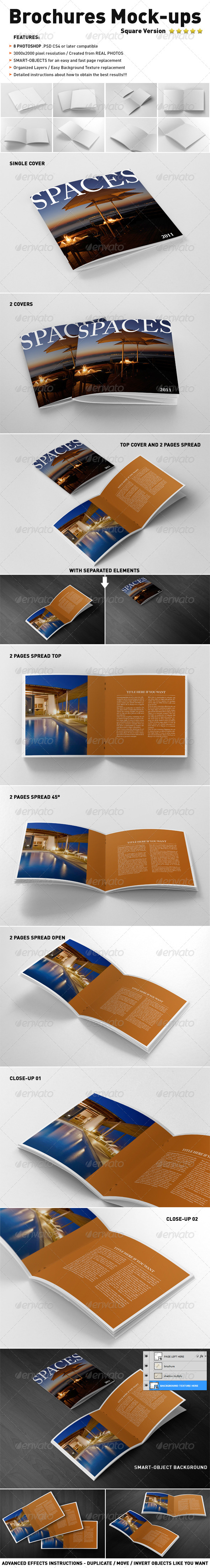 GraphicRiver Photorealistic Square Brochure Mock-ups 4123650