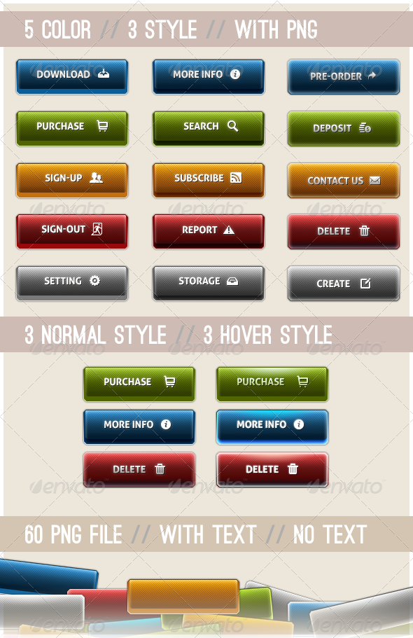 Glossy Buttons - Buttons Web Elements