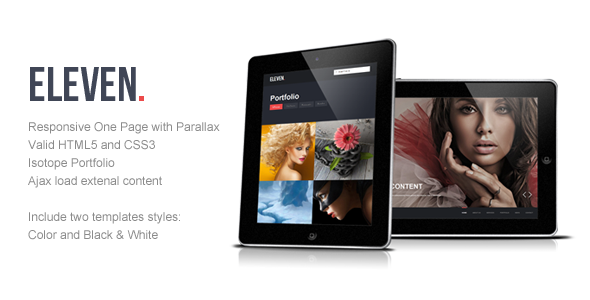 Eleven - Responsive One Page Parallax Template - Portfolio Creative
