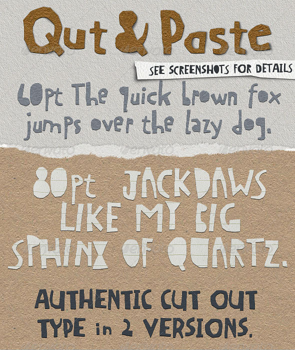 GraphicRiver Qut&Paste Paper Collage Cutout Typeface 4126797
