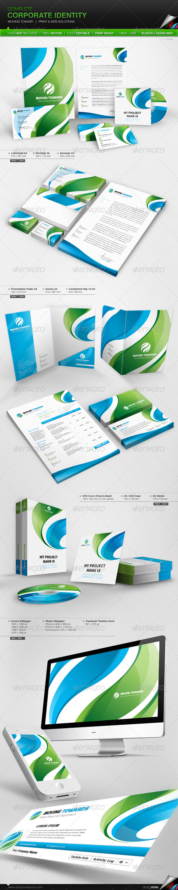 Corporate Identity - Moving Toward - Stationery Print Templates