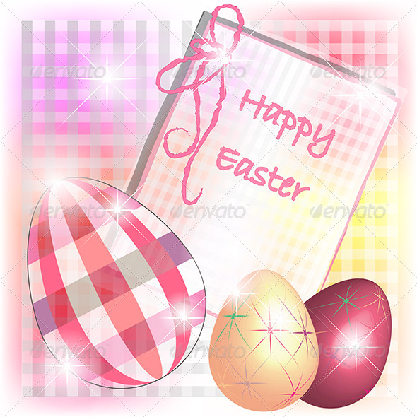 GraphicRiver Burberry Easter Card with Tridimensional Eggs 4130430