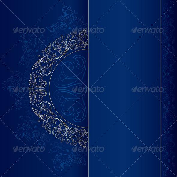 GraphicRiver Gold Vintage Floral Patterns on Blue 4132631