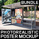 Bundle Realistic Bus Stop Flyer Poster Mockup - GraphicRiver Item for Sale