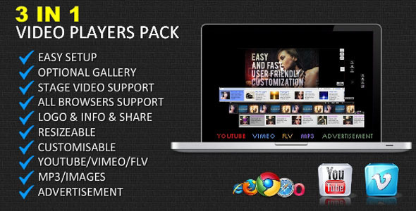 ActiveDen 3 in 1 Video Players Youtube Vimeo Flv mp3 ads 4135058