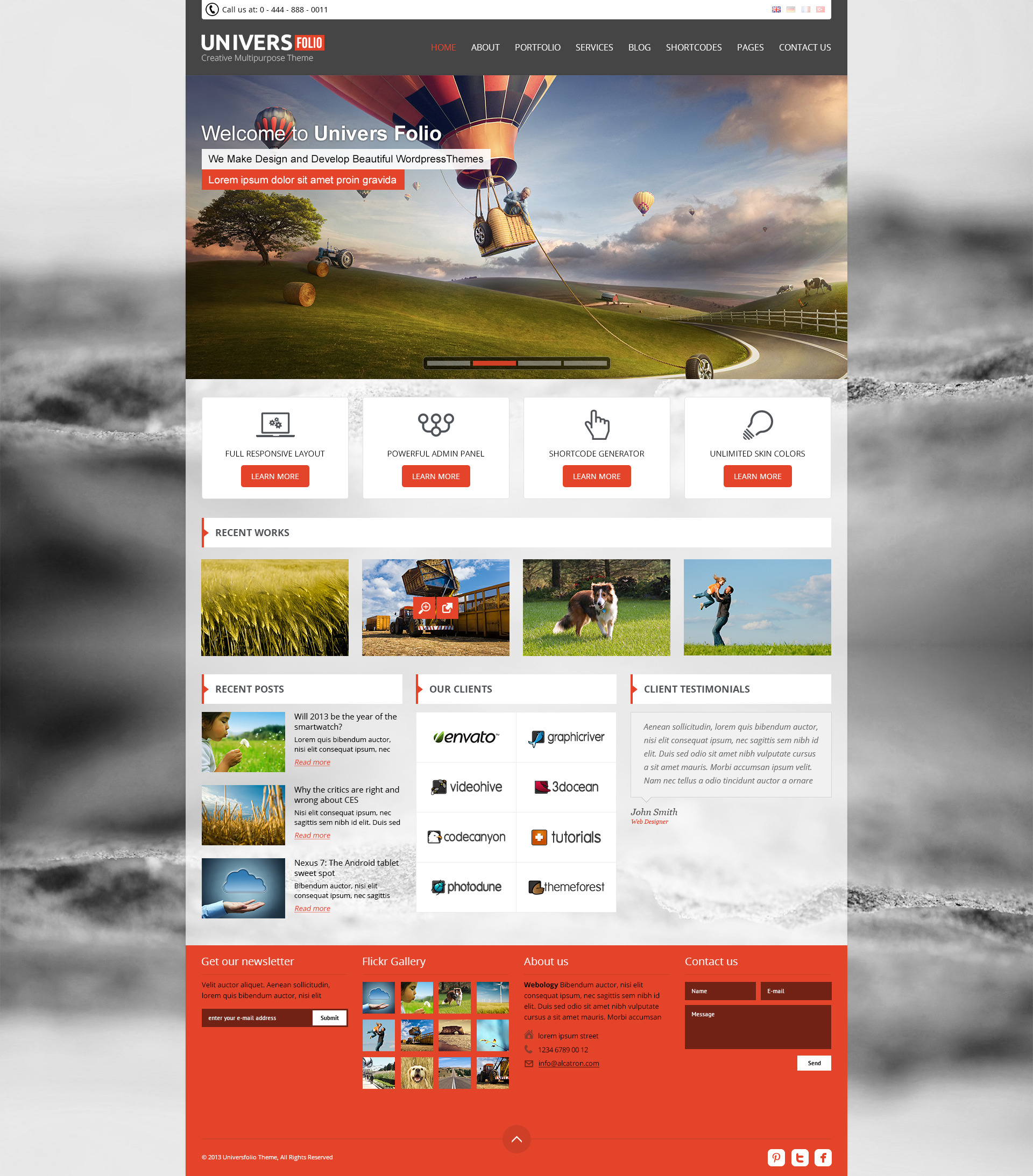 Univers Folio - 4 in 1 Creative PSD Theme