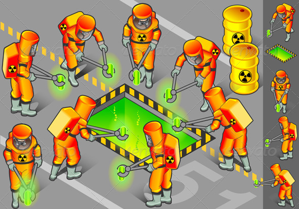 GraphicRiver Isometric Nuclear Area with Mans at Work 4137551