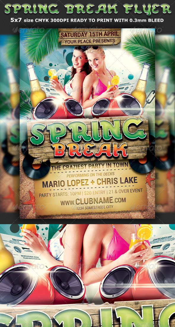 Spring Break Party Flyer Template - Clubs & Parties Events