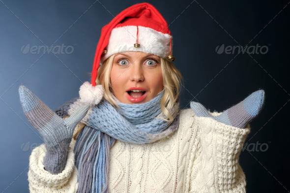 blonde girl in and santa hat - Stock Photo - Images